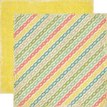 Echo Park - For The Record Collection - 12 x 12 Double Sided Paper - Lace Stripes