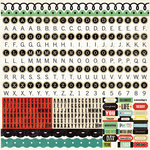Echo Park - For The Record Collection - 12 x 12 Cardstock Stickers - Alphabet