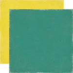 Echo Park - For The Record Collection - 12 x 12 Double Sided Paper - Teal and Yellow
