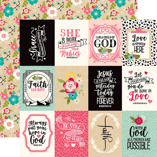 Echo Park - Forward With Faith Collection - 12 x 12 Double Sided Paper - 3 x 4 Journaling Cards