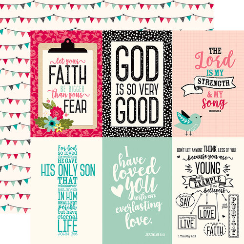 Echo Park - Forward With Faith Collection - 12 x 12 Double Sided Paper - 4 x 6 Journaling Cards