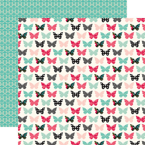 Echo Park - Forward With Faith Collection - 12 x 12 Double Sided Paper - Blessed Butterflies