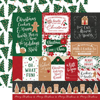 Echo Park - A Gingerbread Christmas Collection - 12 x 12 Double Sided Paper - Multi Journaling Cards
