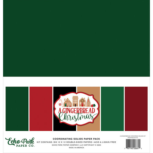 Echo Park - A Gingerbread Christmas Collection - 12 x 12 Paper Pack - Solids