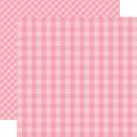 Echo Park - Dots and Stripes Gingham Collection - Spring - 12 x 12 Double Sided Paper - Raspberry Gingham