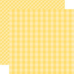 Echo Park - Dots and Stripes Gingham Collection - Spring - 12 x 12 Double Sided Paper - Banana Cream Gingham