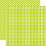 Echo Park - Dots and Stripes Gingham Collection - Spring - 12 x 12 Double Sided Paper - Key Lime Gingham