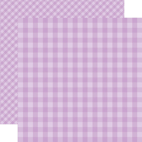 Echo Park - Dots and Stripes Gingham Collection - Spring - 12 x 12 Double Sided Paper - Huckleberry Gingham