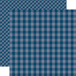 Echo Park - Dots and Stripes Gingham Collection - Summer - 12 x 12 Double Sided Paper - Deep Blue Sea Gingham