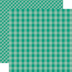 Echo Park - Dots and Stripes Gingham Collection - Summer - 12 x 12 Double Sided Paper - Sea Turtle Gingham