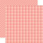 Echo Park - Dots and Stripes Gingham Collection - Summer - 12 x 12 Double Sided Paper - Coral Reef Gingham