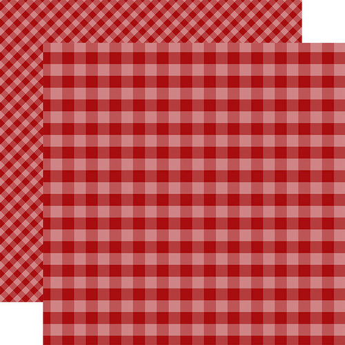 Echo Park - Dots and Stripes Gingham Collection - Autumn - 12 x 12 Double Sided Paper - Red Gingham