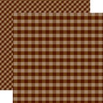 Echo Park - Dots and Stripes Gingham Collection - Autumn - 12 x 12 Double Sided Paper - Brown Gingham