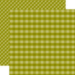 Echo Park - Dots and Stripes Gingham Collection - Autumn - 12 x 12 Double Sided Paper - Green Gingham