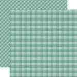Echo Park - Dots and Stripes Gingham Collection - Autumn - 12 x 12 Double Sided Paper - Teal Gingham