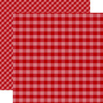 Echo Park - Dots and Stripes Gingham Collection - Christmas - 12 x 12 Double Sided Paper - Dark Red Gingham