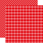 Echo Park - Dots and Stripes Gingham Collection - Christmas - 12 x 12 Double Sided Paper - Holly Berry Gingham