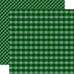 Echo Park - Dots and Stripes Gingham Collection - Christmas - 12 x 12 Double Sided Paper - Dark Green Gingham