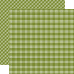 Echo Park - Dots and Stripes Gingham Collection - Christmas - 12 x 12 Double Sided Paper - Olive Green Gingham