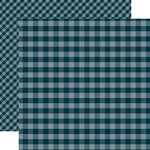 Echo Park - Dots and Stripes Gingham Collection - Christmas - 12 x 12 Double Sided Paper - Navy Gingham