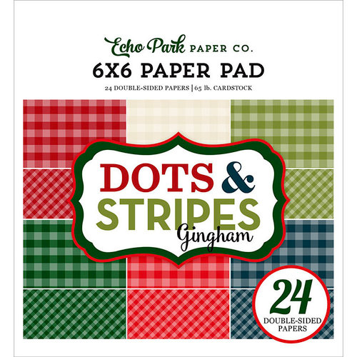 Echo Park - Dots and Stripes Gingham Collection - Christmas - 6 x 6 Paper Pad