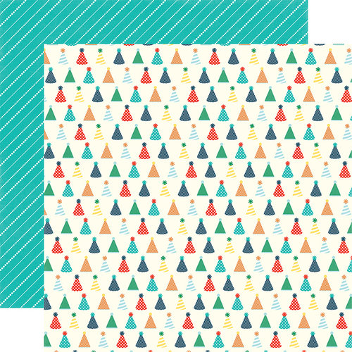 Echo Park - Happy Birthday Boy Collection - 12 x 12 Double Sided Paper - Birthday Hats
