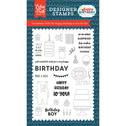 Echo Park - Happy Birthday Boy Collection - Clear Acrylic Stamps - Happy Birthday To You