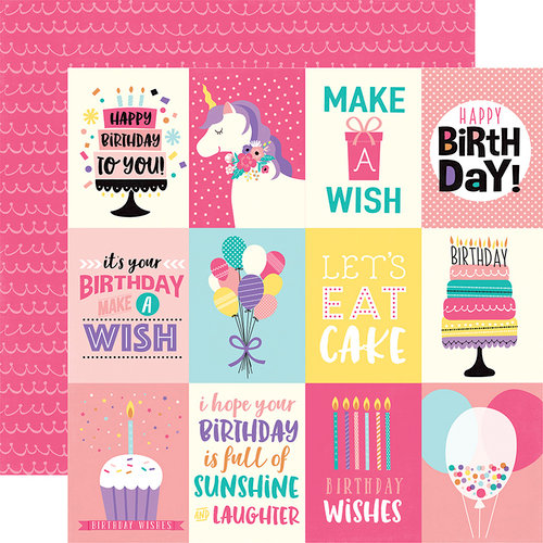 Echo Park - Happy Birthday Girl Collection - 12 x 12 Double Sided Paper - 3 x 4 Journaling Cards
