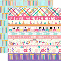 Echo Park - Happy Birthday Girl Collection - 12 x 12 Double Sided Paper - Border Strips