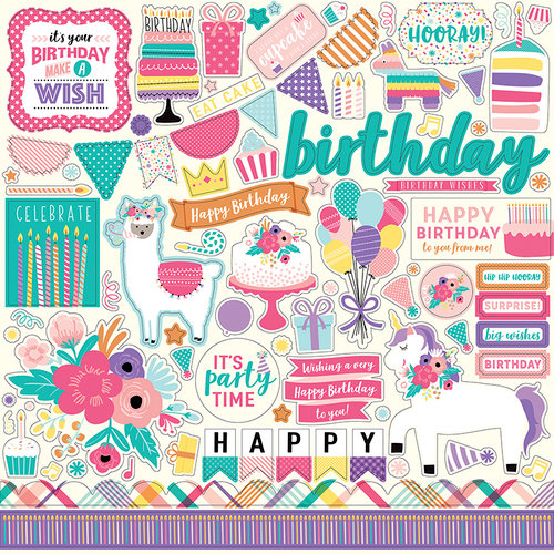 Echo Park - Happy Birthday Girl Collection - 12 x 12 Cardstock Stickers - Elements