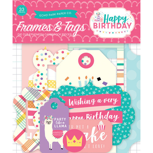 Echo Park - Happy Birthday Girl Collection - Ephemera - Frames and Tags