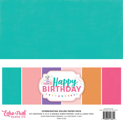 Echo Park - Happy Birthday Girl Collection - 12 x 12 Paper Pack - Solids