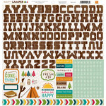 Echo Park - Happy Camper Collection - 12 x 12 Cardstock Stickers - Alphabet
