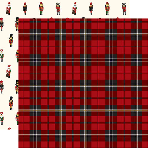 Echo Park - Christmas - Here Comes Santa Claus Collection - 12 x 12 Double Sided Paper - Christmas Plaid