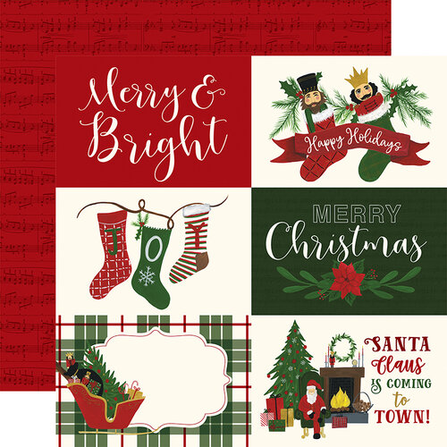 Echo Park - Christmas - Here Comes Santa Claus Collection - 12 x 12 Double Sided Paper - 6 x 4 Journaling Cards