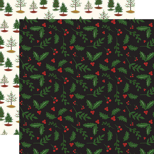 Echo Park - Christmas - Here Comes Santa Claus Collection - 12 x 12 Double Sided Paper - Holly Berries