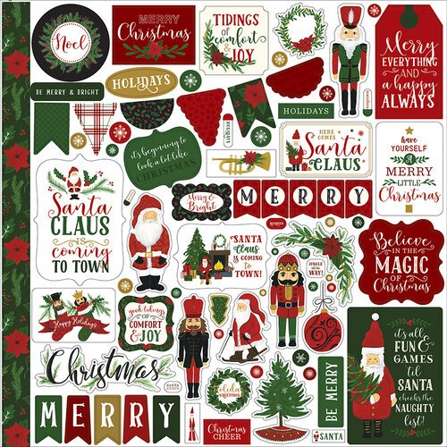Echo Park - Christmas - Here Comes Santa Claus Collection - 12 x 12 Cardstock Stickers - Elements