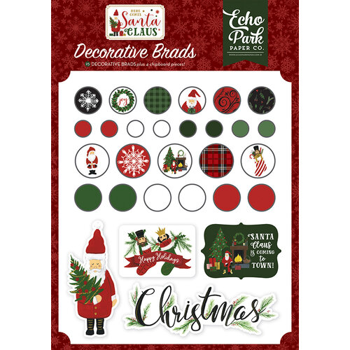 Echo Park - Christmas - Here Comes Santa Claus Collection - Decorative Brads