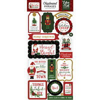 Echo Park - Christmas - Here Comes Santa Claus Collection - Chipboard Stickers - Phrases with Foil Accents