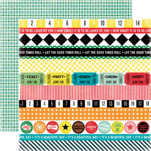 Echo Park - Happy Days Collection - 12 x 12 Double Sided Paper - Borders