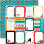 Echo Park - Happy Days Collection - 12 x 12 Double Sided Paper - Journaling Cards