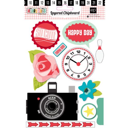 Echo Park - Happy Days Collection - Layered Chipboard Stickers