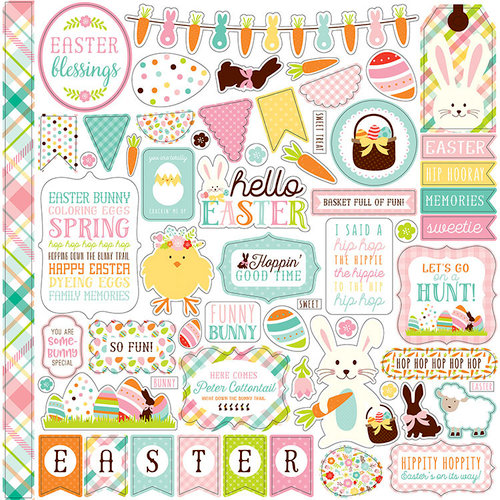 Echo Park - Hello Easter Collection - 12 x 12 Cardstock Stickers - Elements