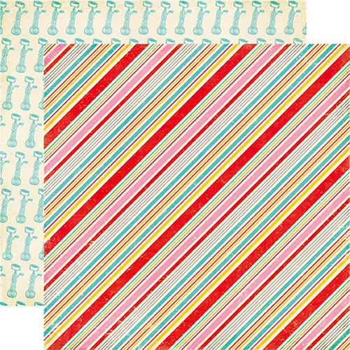 Echo Park - Happiness is Homemade Collection - 12 x 12 Double Sided Paper - Pastry Stripes