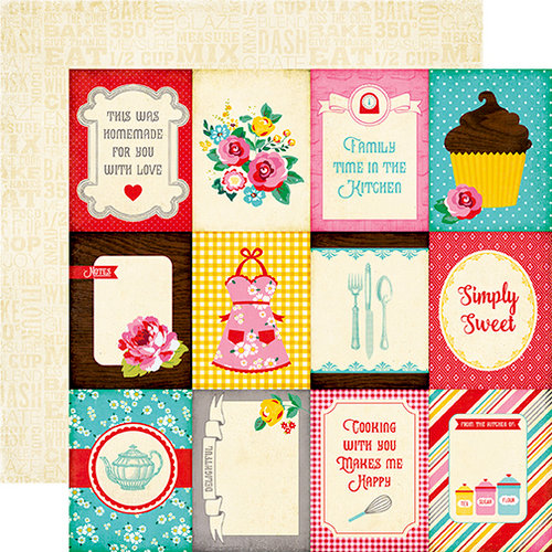 Echo Park - Happiness is Homemade Collection - 12 x 12 Double Sided Paper - 3 x 4 Journaling Cards