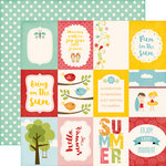 Echo Park - Happy Summer Collection - 12 x 12 Double Sided Paper - 3 x 4 Journaling Cards
