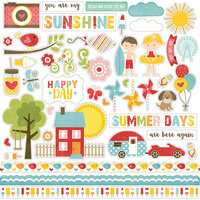 Echo Park - Happy Summer Collection - 12 x 12 Cardstock Stickers - Elements