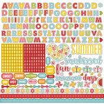 Echo Park - Happy Summer Collection - 12 x 12 Cardstock Stickers - Alphabet