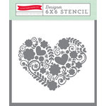 Echo Park - Happy Summer Collection - 6 x 6 Stencil - Floral Heart