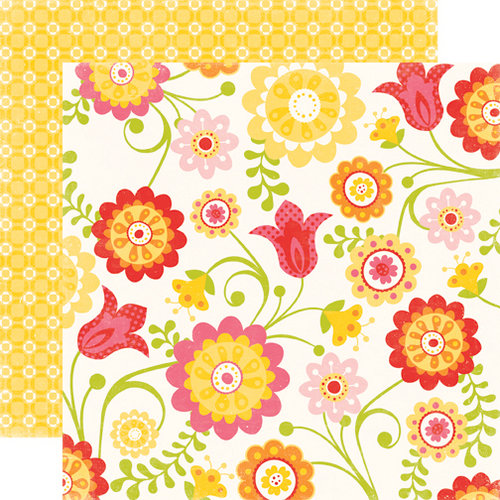 Echo Park - Hello Summer Collection - 12 x 12 Double Sided Paper - Happy Flowers